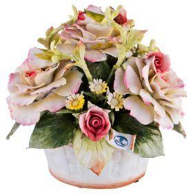 Декоративная корзина с цветами 19*17 см. высота=18 см.-635-605