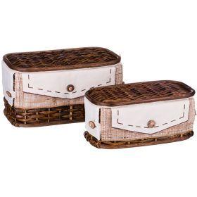 Набор корзин для белья с крышкой и чехлом из 2 шт.17*33*20/11*28*15 см.-131-230