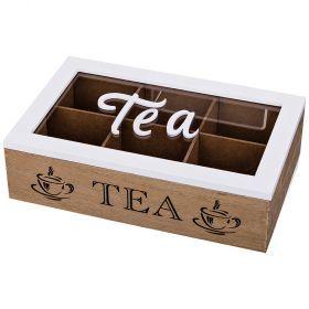 Шкатулка для чая 6-ти секционная 27*17 см высота=7,5 см-421-207
