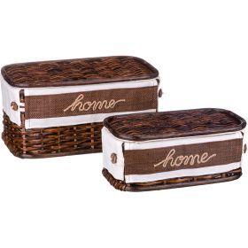 Набор корзин для белья с крышкой и чехлом из 2 шт. 17*34*21/12*28*15 см. без упаковки-131-210