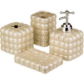 Набор для ванной комнаты 4 пр.:дозатор для мыла, мыльница, стакан для зубных щеток, стакан-755-164