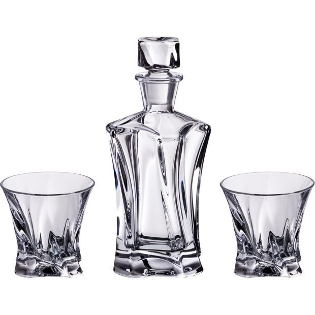 "Набор для виски  ""cooper"" 3 пр.:штоф+2 стакана 400/230 мл. высота=24/9 см.-614-537"