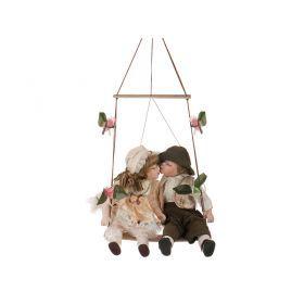 Набор фарфоровых кукол из 2 шт с мягконабивным туловищем высота=34 см