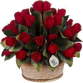 Изделие декоративное корзинка с розами диаметр=16 см.высота=15 см.