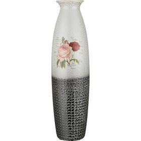 Ваза напольная розы серебряное кракле 21*76 см