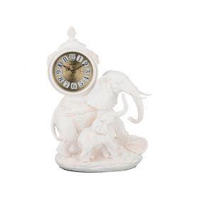 Часы настольные кварцевые слониха со слоненком цвет:белый 33*20*44 см. диам. циферблата=13 см.