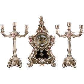 Комплект подсвечников из 2-х шт. и часы настольные кварцевые с маятником ангел 53*10*36 см.
