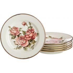 Набор тарелок из 6 шт.корейская роза диаметр=16,5 см. высота=2 см.