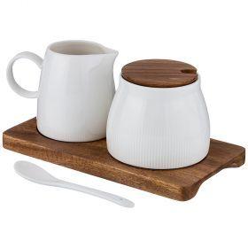 Сахарница с ложкой объем= 350 мл и молочник объем=270 мл на деревянной подставке-235-114