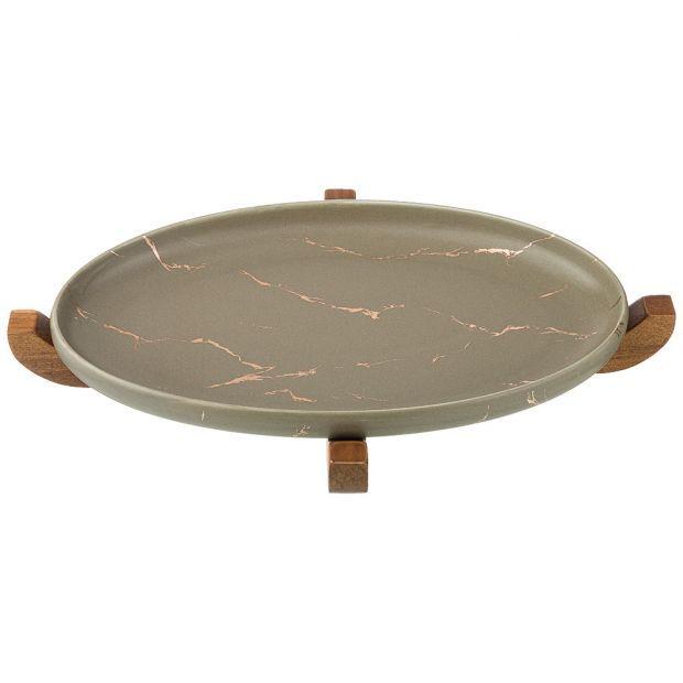 """Блюдо для сервировки на деревянной подставке коллекция """"золотой мрамор"""" цвет: gray 30,8*18,7*3 см-412-129"""