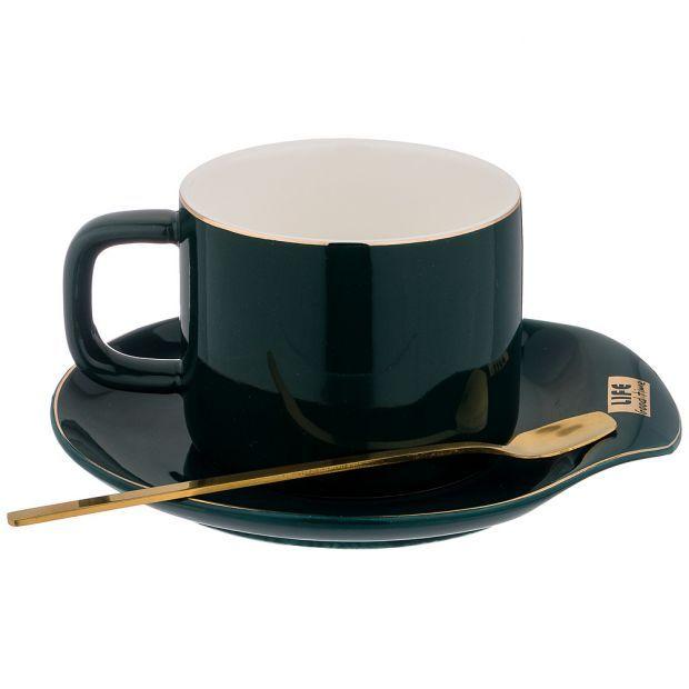 """Чайный набор """"break time"""" на 1пер. 3пр. 200мл, зеленый (кор=45наб.)-90-1015"""