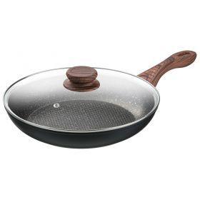 Сковорода со стекл.крышкой и антипригарным покрытием диаметр=28 см.высота=5,3 см.-918-158