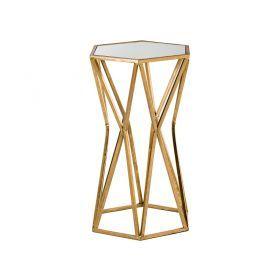 Подставка дизайнерская с зеркальной поверхностью 32,5*28,5*53 см цвет:состаренное золото-218-056