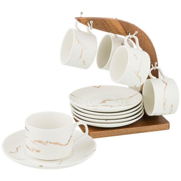 """Набор чашек с блюдцами на деревянной подставке коллекция """"золотой мрамор"""" цвет: white 150 мл-412-168"""