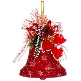 Декоративное панно колокольчик цвет:красный 20 см без упаковки (кор=120 шт.)-161-173