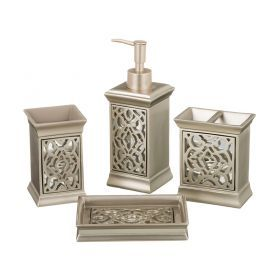 Набор для ванной комнаты 4 пр.:дозатор+подставка для мыла, подставка для зубных щеток,стакан (кор=6н-765-519