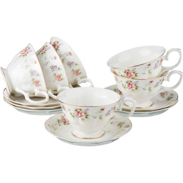 """Чайный набор на 6 персон """"екатерина"""" 12пр. 200 мл.-54-379"""