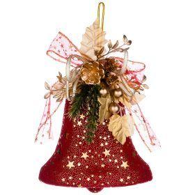 Декоративное панно колокольчик цвет:красный 20 см без упаковки (кор=120 шт.)-161-175