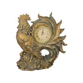 Часы петух защита дома цвет: бронза 19*10 см. высота=21 см. диаметр циферблата=6 см.