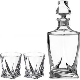Набор для виски квадро 3пр.: штоф+2 стакана 850/400 мл. высота=27/10 см.