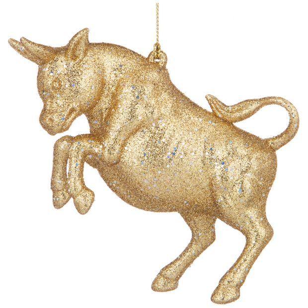 """Елочное украшение""""бык символ года 2021"""" 12,5*3 см высота=8,5 см цвет:золото с глиттером ((мал-24/кор-865-471"""