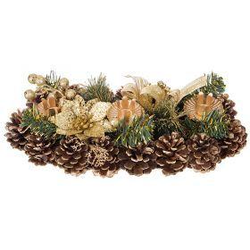 Подсвечник с золотым цветком на 3 свечи 35,5*15 см.-160-180