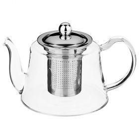 Чайник заварочный agness 800 мл. с фильтром жаропрочное стекло, grace (кор=16шт.)-884-041