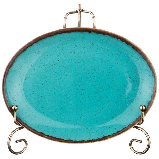 Тарелка seasons 18*14 см овальная цвет бирюзовый (кор=6шт.)-664-165