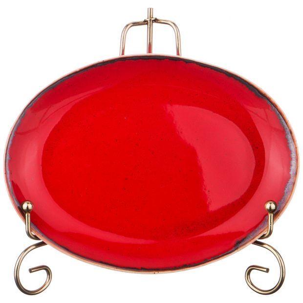 Тарелка seasons 18*14 см овальная цвет красный (кор=6шт.)-664-166