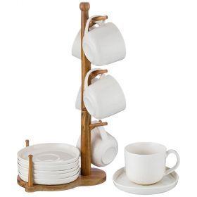 Чайный набор на 6 персон 12 пр. на деревянной подставке объем чашки= 280 мл-235-113