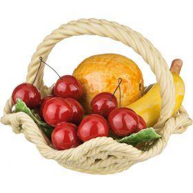 Изделие декоративное корзина с фруктами.высота=17 см диаметр=18 см.