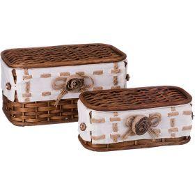 Набор корзин для белья с крышкой и чехлом из 2 шт.17*33*20/11*28*15 см. без упаковки-131-235