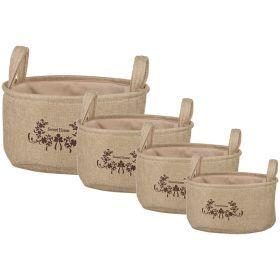 Набор корзинок для хранения с ручками из 4-х шт. l:ф35*18/m:ф31*16/s:ф27*14/xs:ф23*12 см.(кор=5наб.