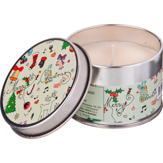 """Ароматическая свеча в жестяной банке """"christmas"""" диаметр=8 см. высота=5 см.цвет белый-602-080"""