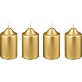 Набор свечей из 4 шт. 8*4 см. золотой металлик-348-447