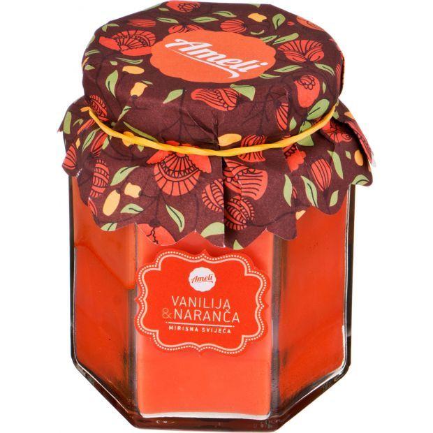 """Ароматическая свеча в банке """"ваниль и апельсин"""" диаметр=7 см. высота=9 см.-602-085"""