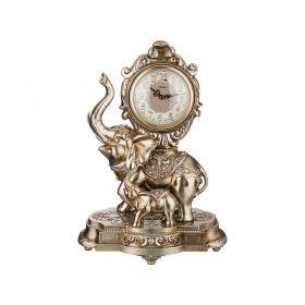 Часы настольные кварцевые слониха со слоненком цвет: золото 32,5*23*46,5 см. диам. цифербл.=12 см.