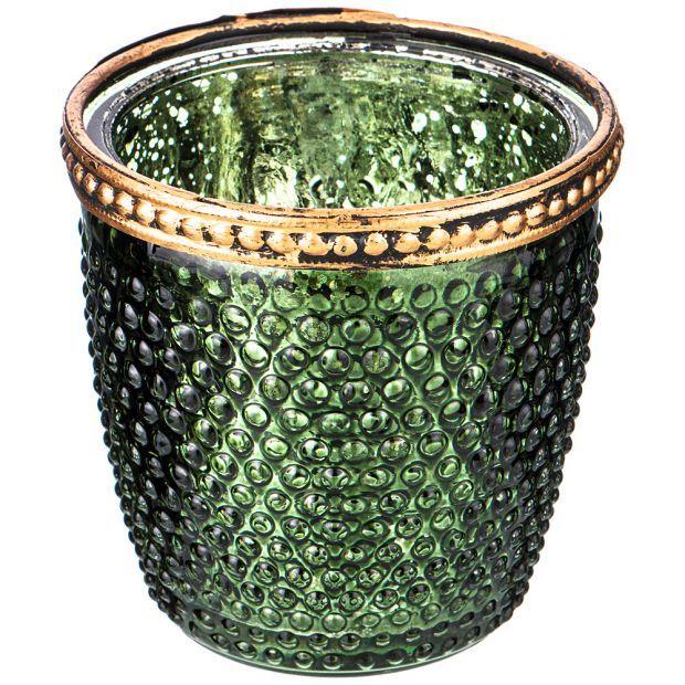 Подсвечник с металл.элементами, д=7,5см, в=7,5см, зеленый перламутр (кор=36шт.)-132-048