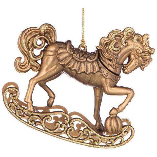 """Елочное украшение """"лошадка"""" 10,5*2,6 см высота=9,5 см цвет:матовая бронза с глиттером ((мал-24/кор=1-865-481"""