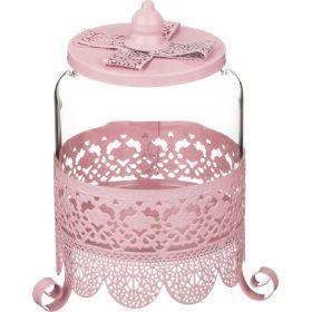 Банка для сыпучих продуктов розовая 12*21 см.-158-133