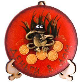 Тарелка декоративная денежная лягушка на оранжевом фоне диаметр=13 см-135-5001