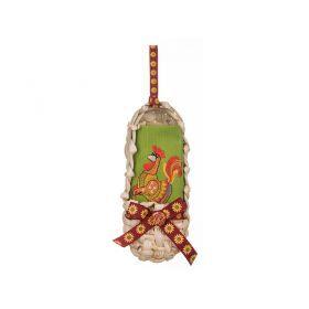 Органайзер-лапоть с салфеткой 40*40см петух 100% хлопок, зеленая с вышивкой