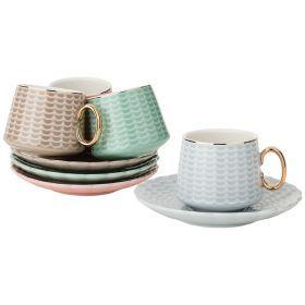 Кофейный набор на 4пер. 8пр. 90мл, 4 цвета: серый, кофейный, розовый, зелено-голубой (кор=12наб.)-91-050