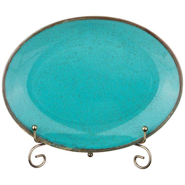 Тарелка seasons 24*18,5 см овальная цвет бирюзовый (кор=12шт.)-664-177