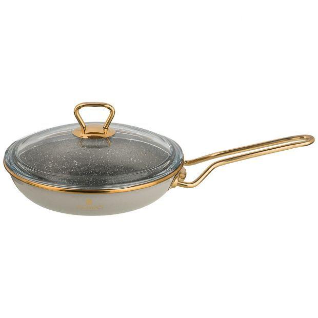 """Сковорода agness эмалированная со стекл. крышкой и антипригар. """"мраморным"""" покрытием, 20см-950-296"""