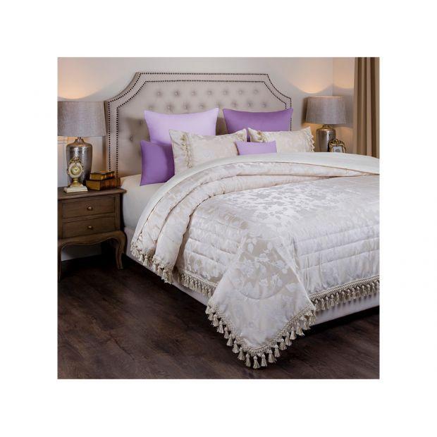 """Комплект на кровать из покрывала и 2-х наволочек """"версаль"""",шампань розы ,250х230,50х70,100% полиэстр-850-900-90"""