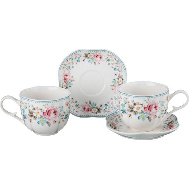 """Чайный набор на 2 персоны """"мадемуазель кики"""" 4пр. 200 мл.-54-412"""