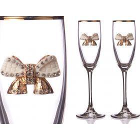 Набор бокалов для шампанского из 2 шт. с золотой каймой 170 мл.-802-510728
