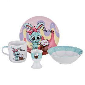 Наборы посуды на 1 персону 4пр.:миска, тарелка, кружка 200 мл, подставка под яйцо-87-156