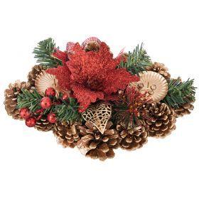 Подсвечник с красным цветком на 2 свечи 28*17,5 см-160-175
